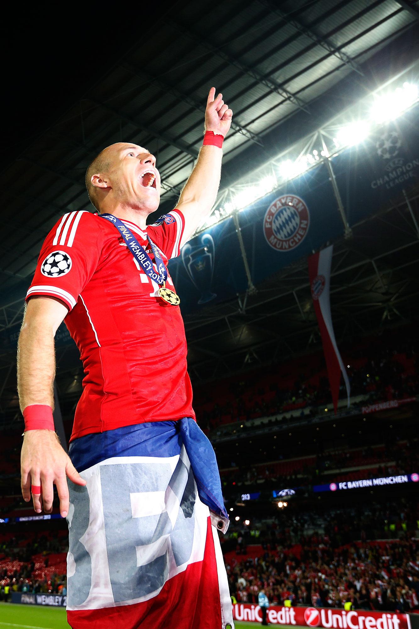 Arjen Robben schreeuwt