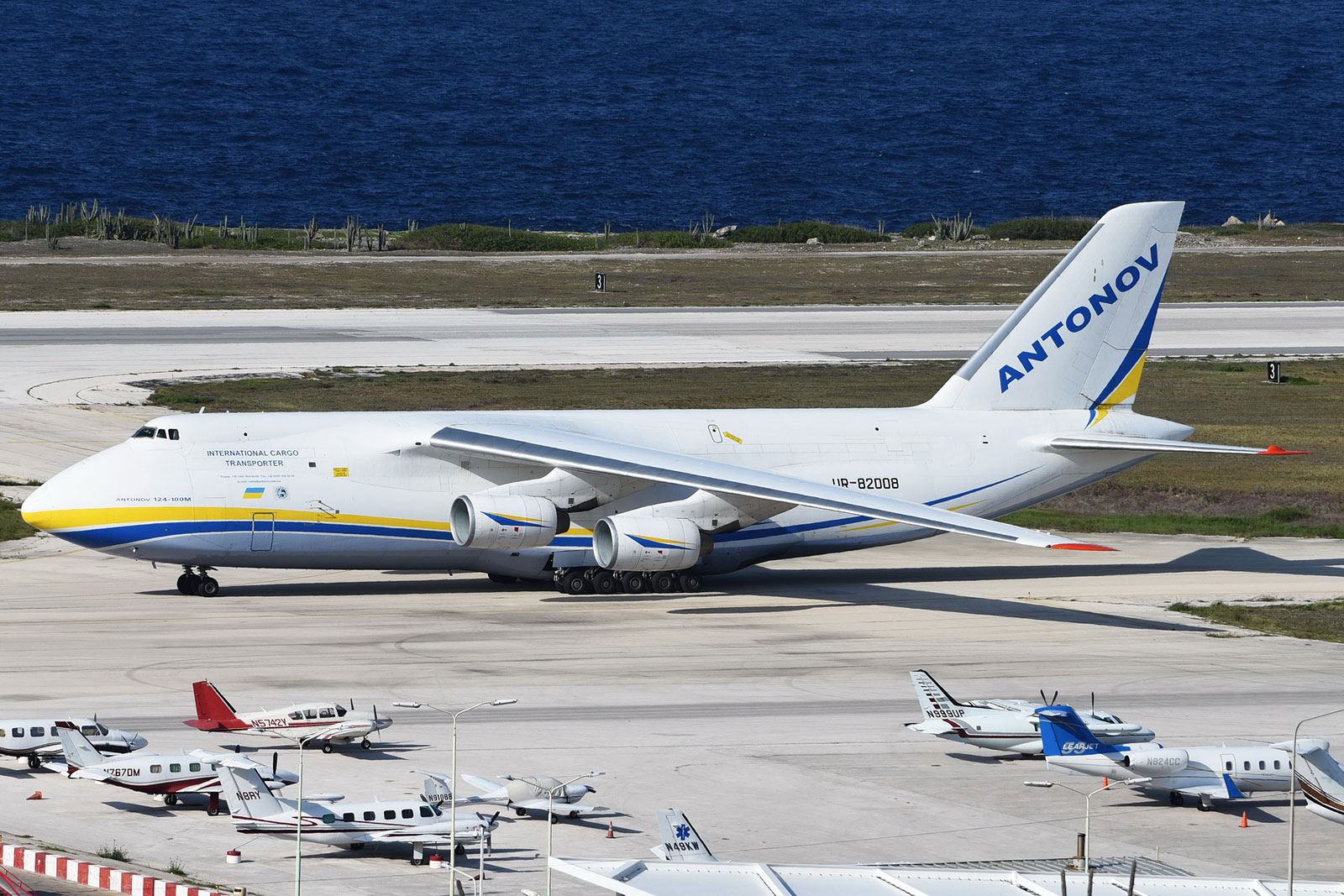 One of the largest transport aircraft in the world at Hato International Airport of Curacao transporting aid from the Netherlands