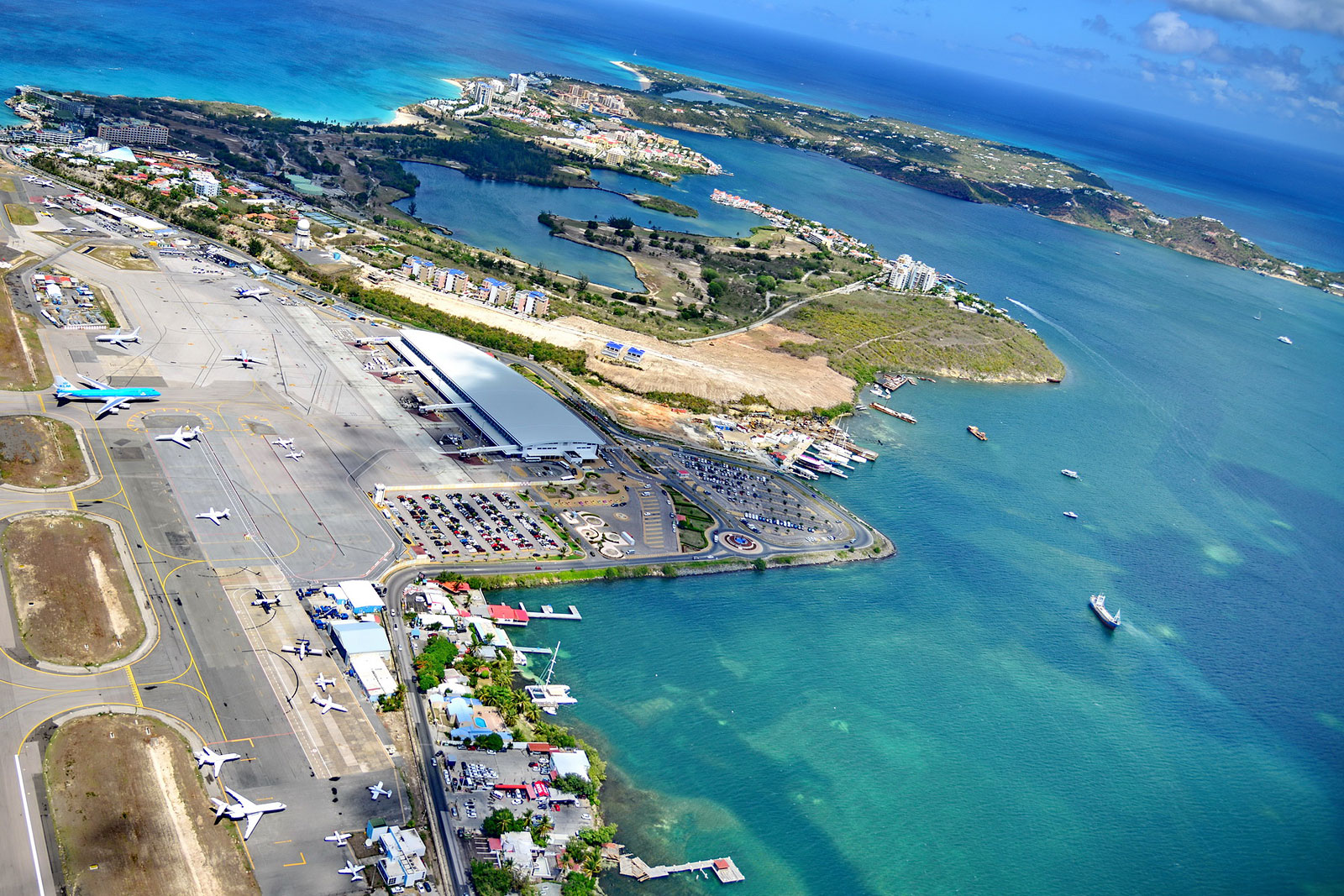 The Princess Juliana International Airport taken from an inbound photography chopper just after KLM's B747 (KL785) from Amsterdam has landed.