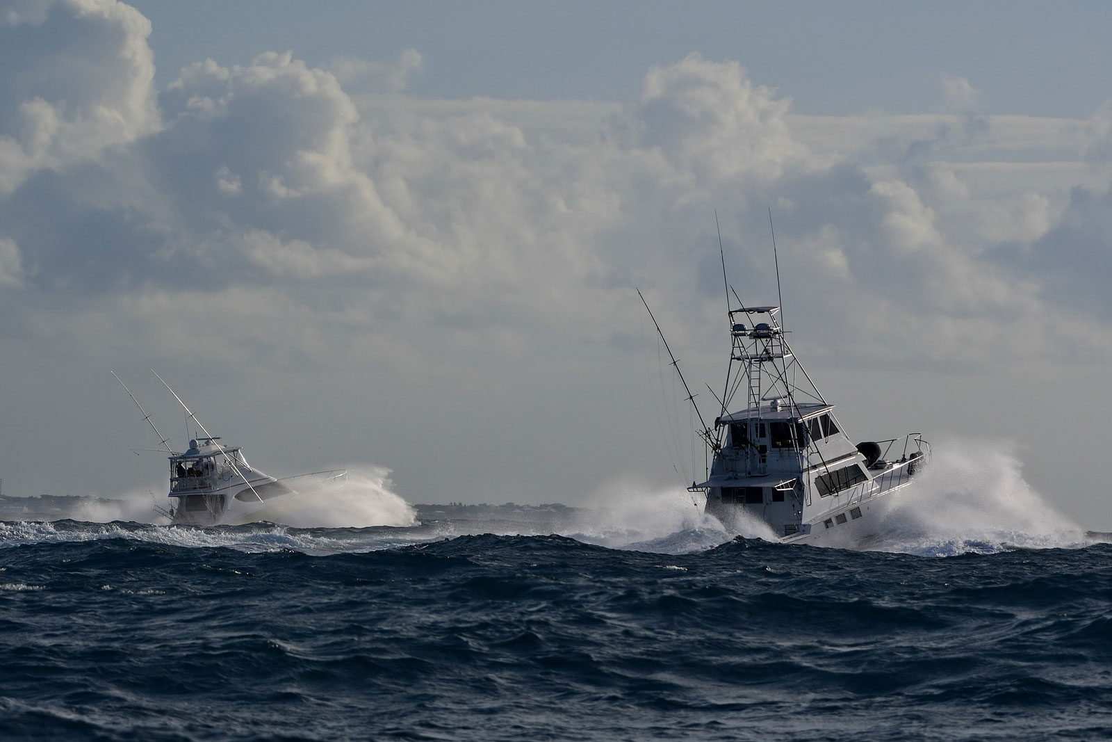 Fishing Boats running to the Marlin Boulevard in Saint Martin after the early bimini start during the first day of the Saint Martin Bill Fish Tournament edition 2017.