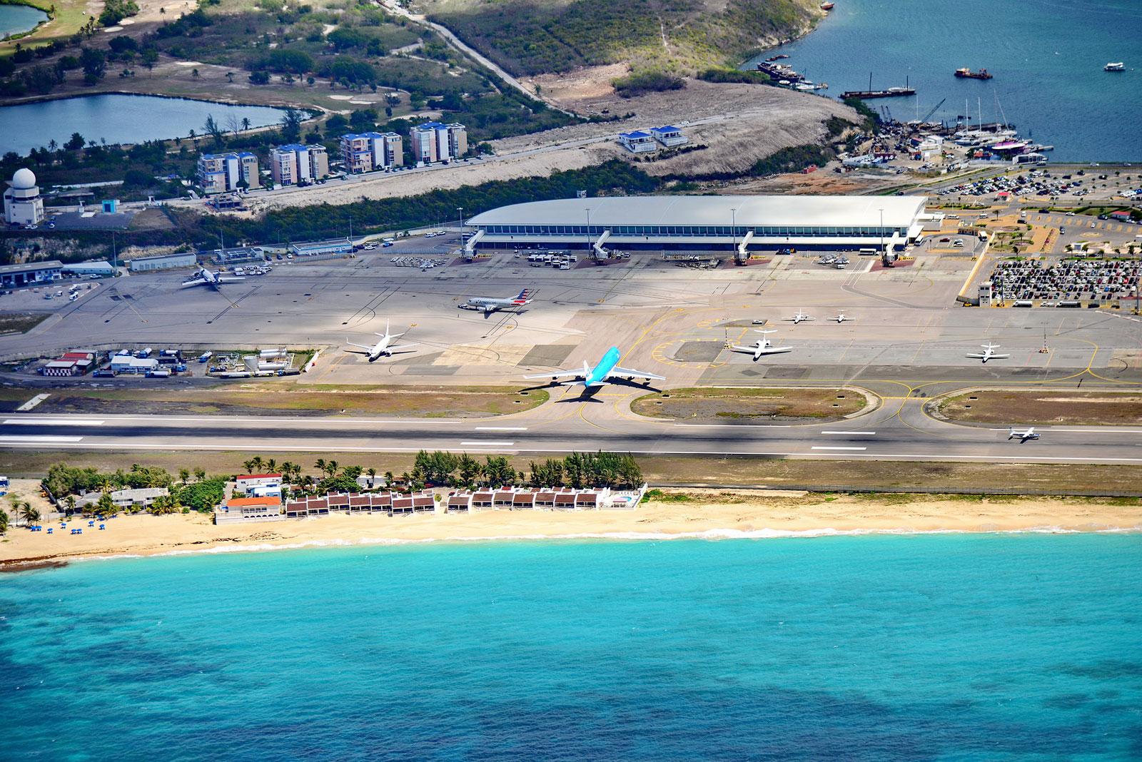 The Princess Juliana International Airport of Sint Maarten.