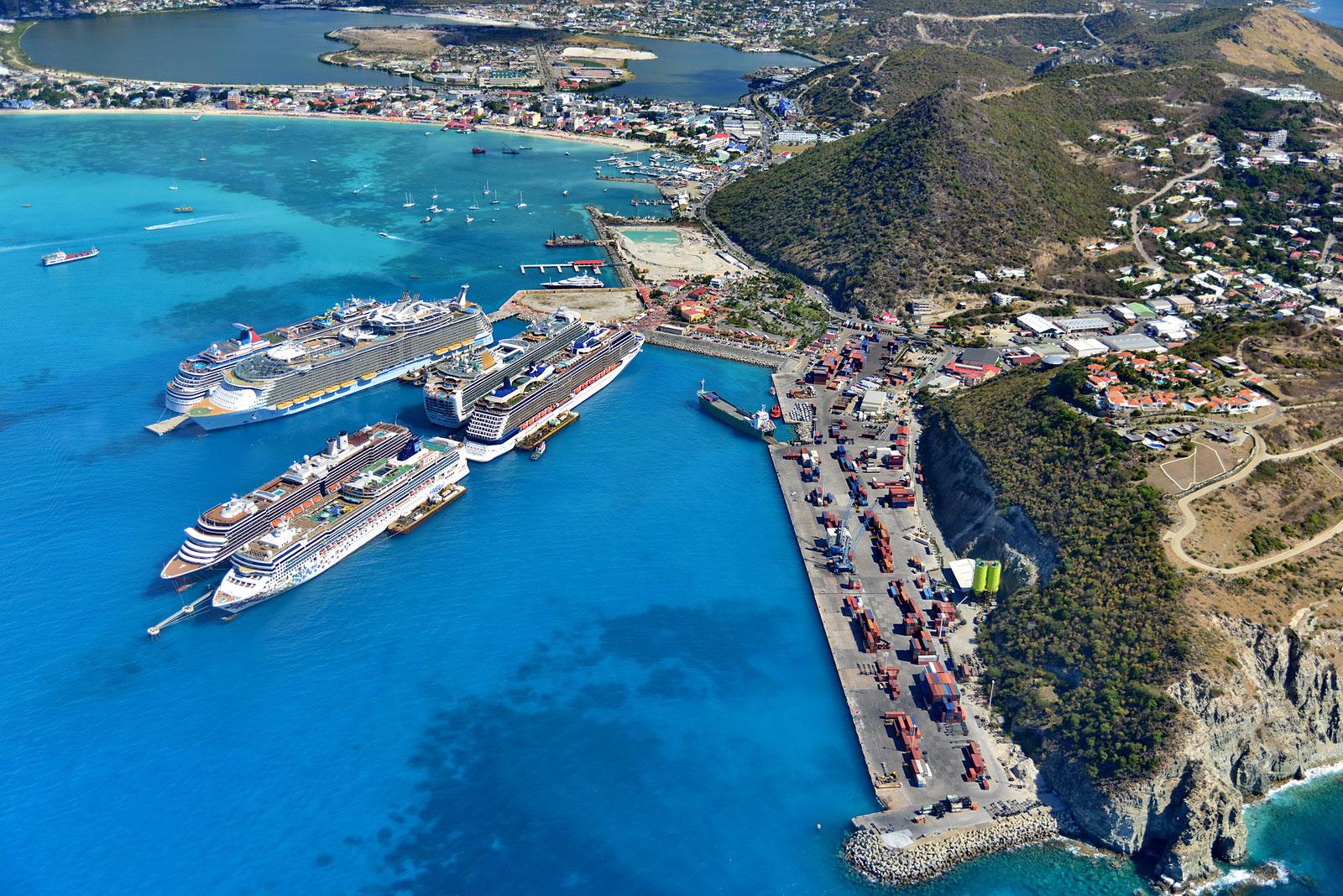 Philipsburg Harbor, Sint Maarten, Dutch West Indies.