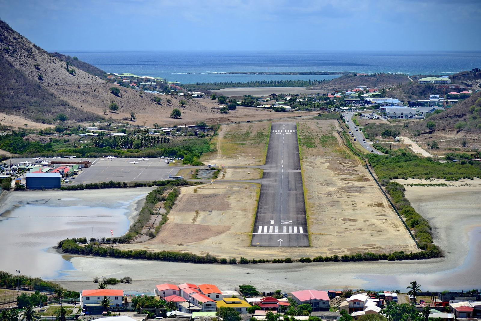 The landingstrip at L'Esperance Airport at Grand Case, Saint Martin.