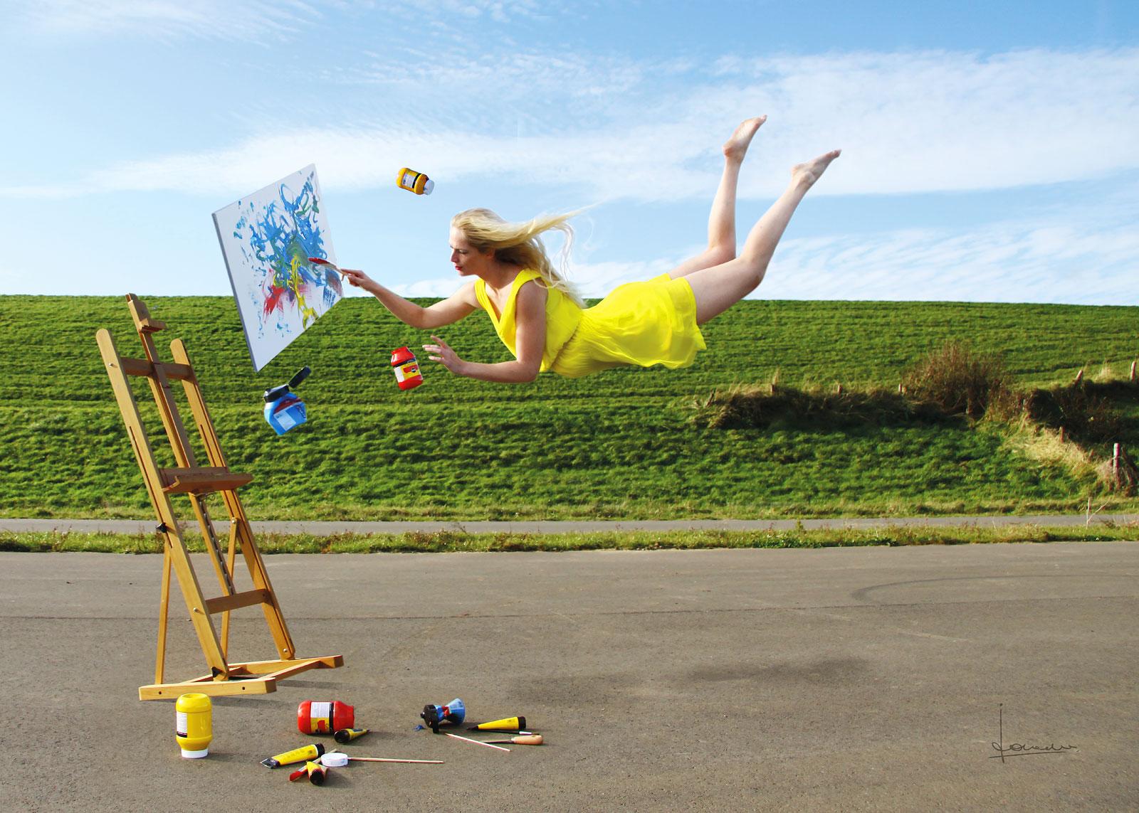 Als ik toch eens kon vliegen..., Met acropower deed ze dat al regelmatig, nu ook met de schildersezel.