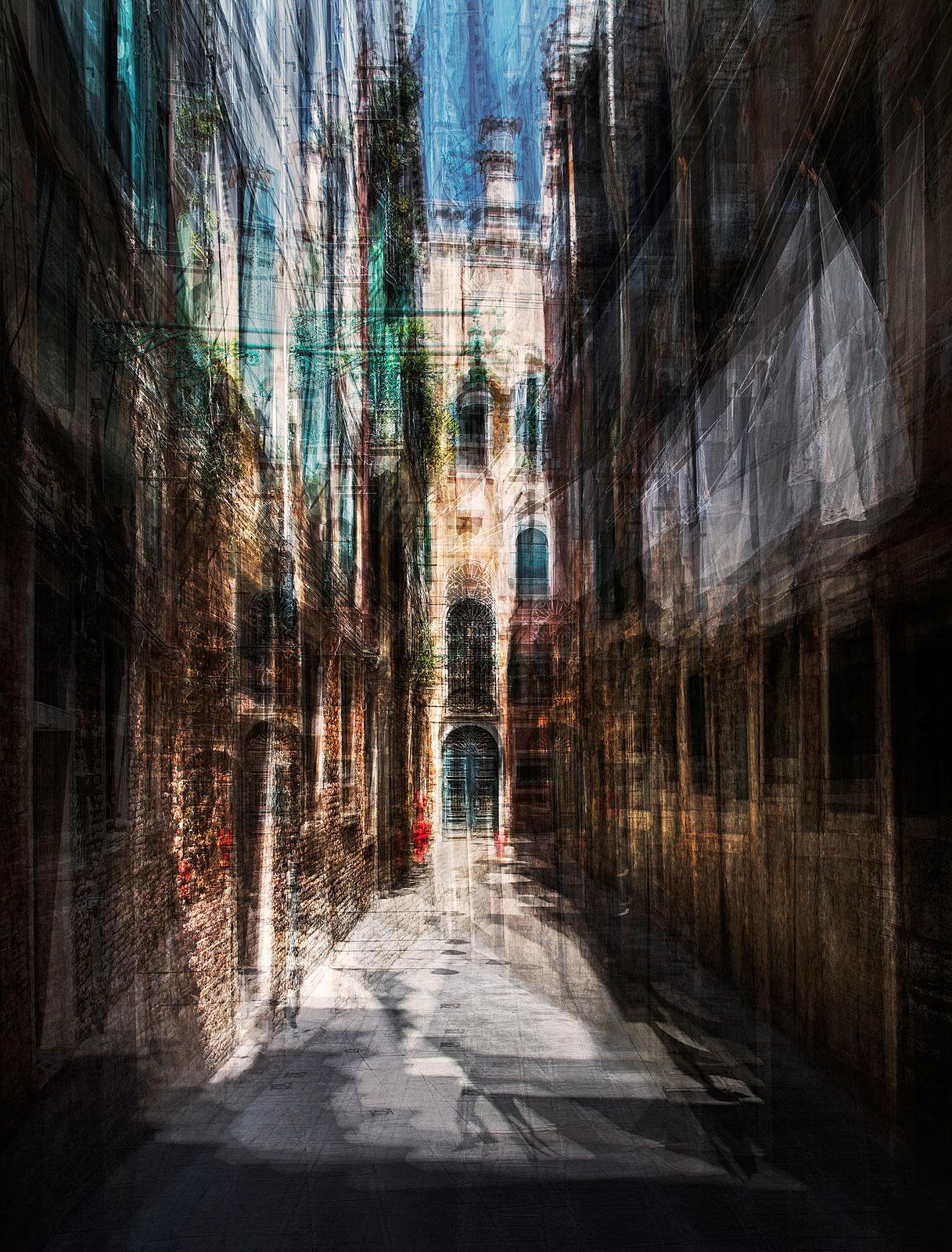 Een van de smalle straatjes in het oude Veneti