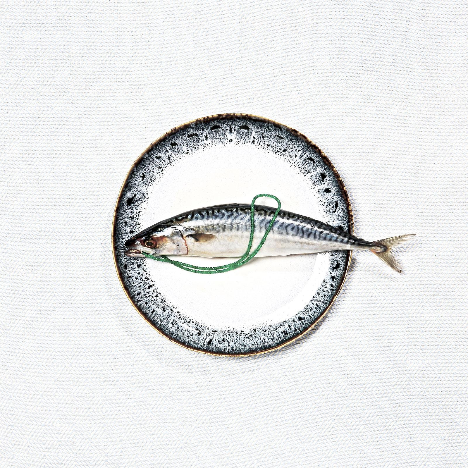 Foto van vis op bord met sieraad