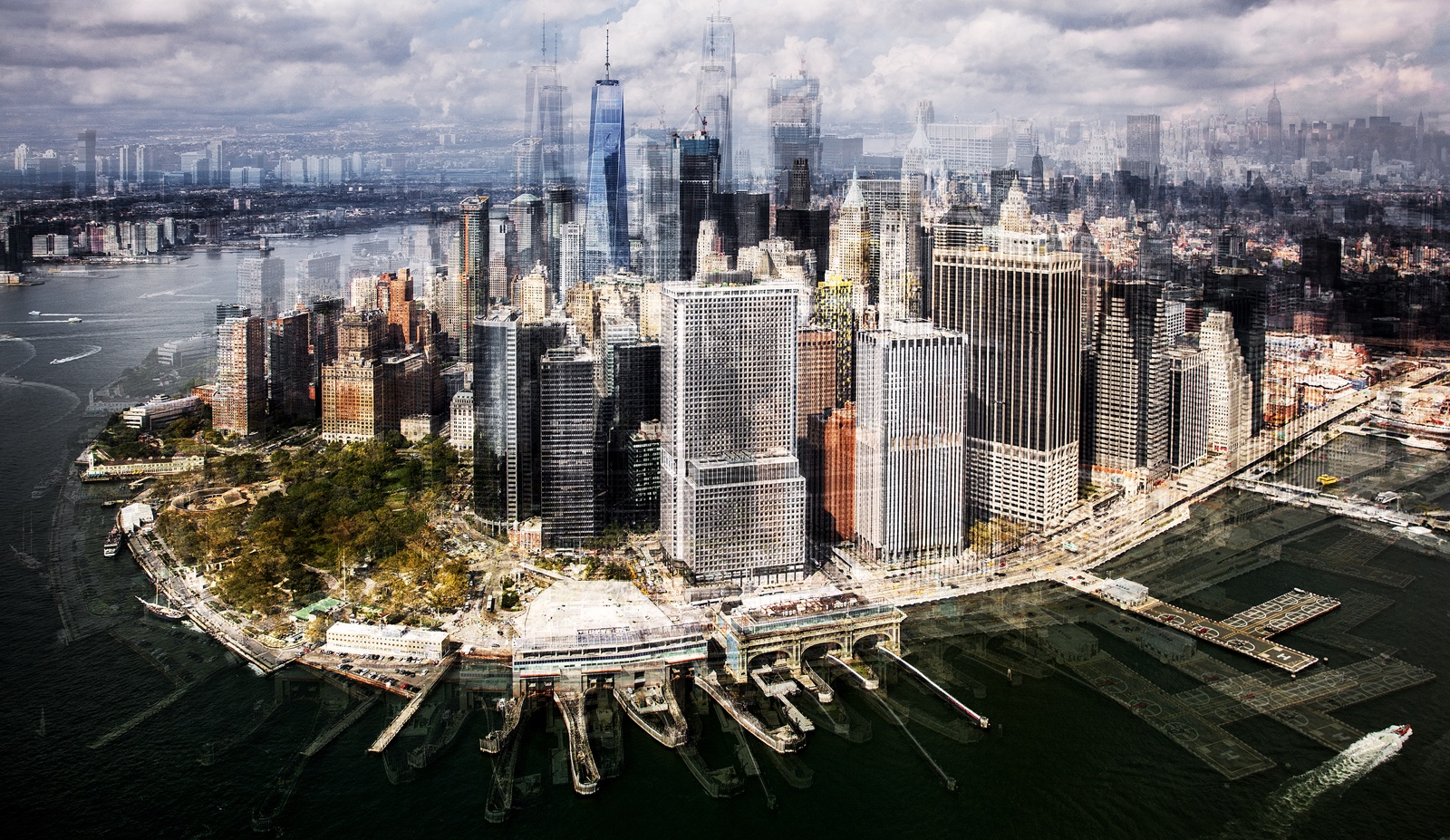 Luchtfoto New York Downtown en Battery Park