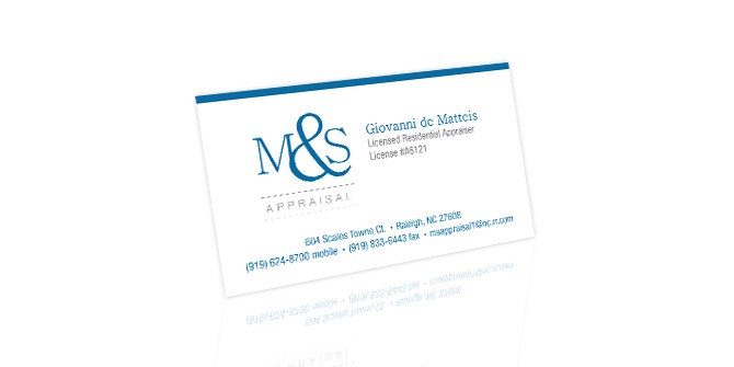 M&S Appraisals business cards