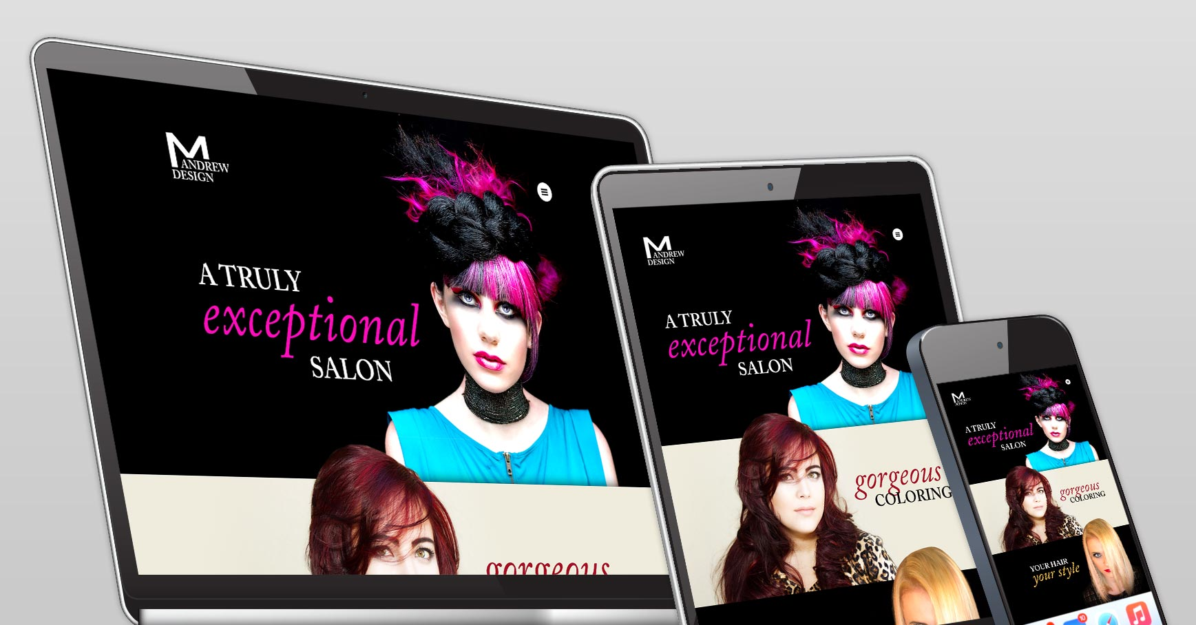 M Andrew salon web design