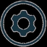 Dark blue icon of a mechanical gear in a dark blue circle frame