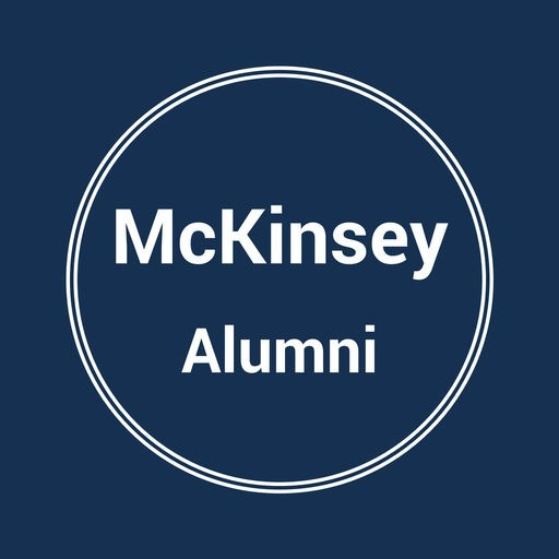 Logo for McKinsey Alumni in white type and white circle around it against navy blue background