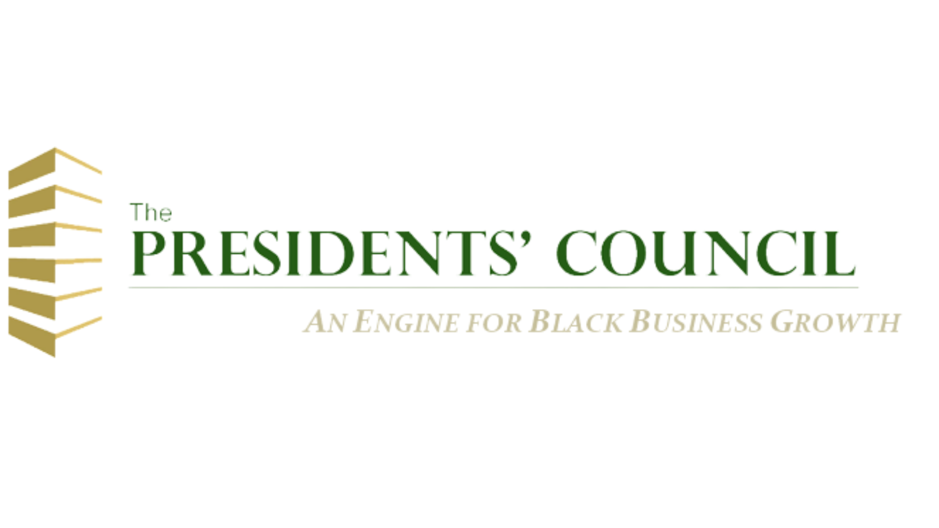 Logo for The President's Council, with tagline that reads, an Engine for Black Business Growth