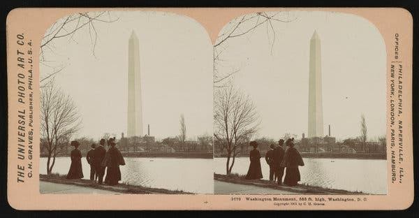 A stereograph of the Washington Monument in 1901. The monument's height, for now, is 555 feet.