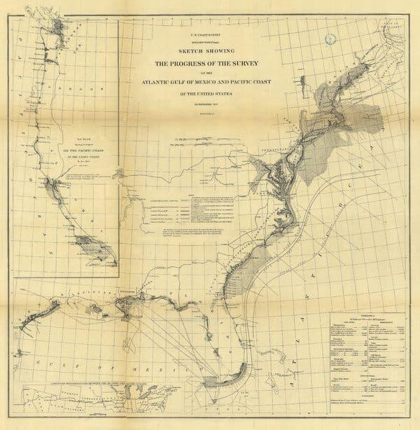 A U.S. Coast Survey sketch from 1873. The errors of U.S. heights are magnified as one moves diagonally across the country from the southeast to the northwest.