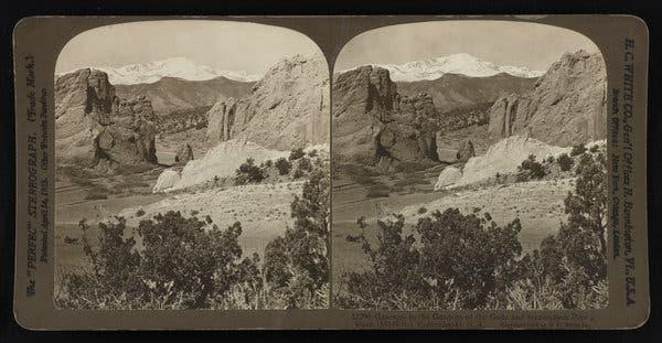 Pikes Peak, seen through the Gateway to the Garden of the Gods, elevation currently 14,115 feet, in Colorado in 1903.