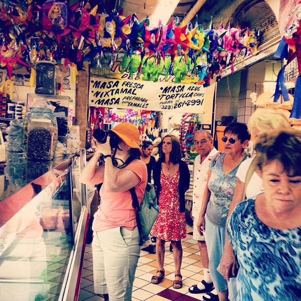 inside market during tour