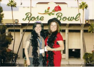 scalia sisters in front of the rose bowl