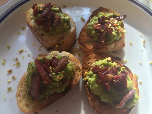 Avocado Toast with Duck Bacon and Pistachios