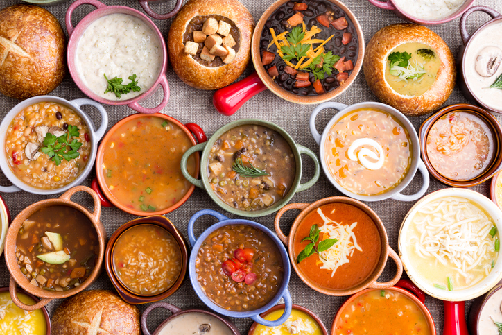 a collection of a bunch of different soups