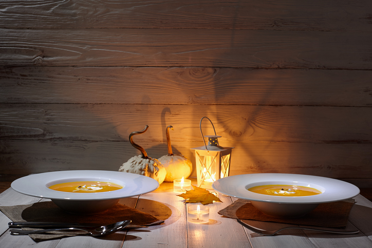 Salmarejo soup over candlelight