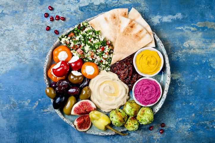 Mezes with colorful food