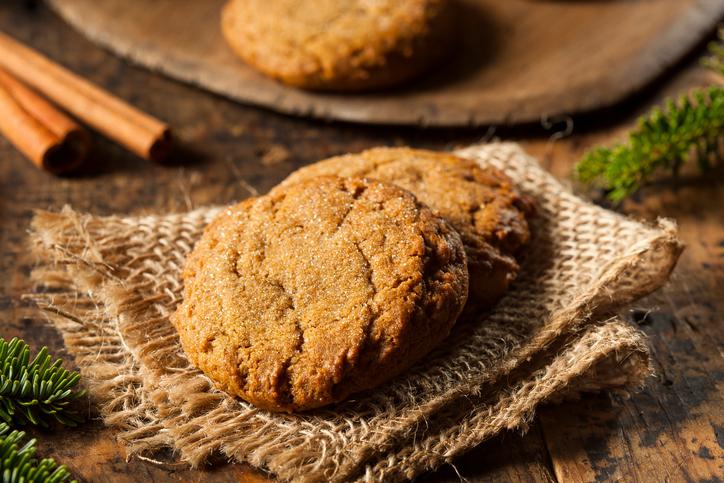 closeup of gingersnap cookies