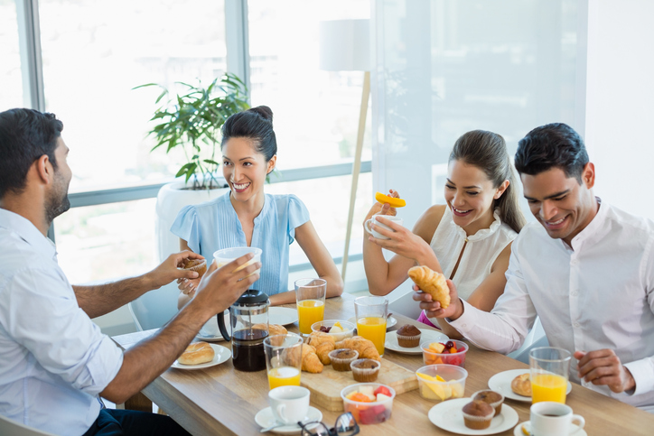 a group having brunch together