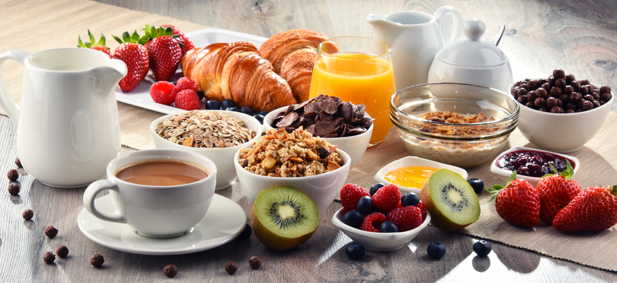 an assortment of breakfast items