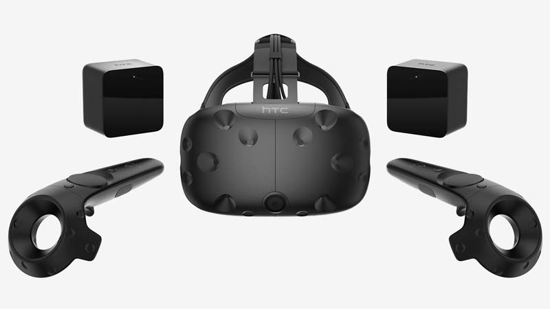 An HTC Vive headset and accessories