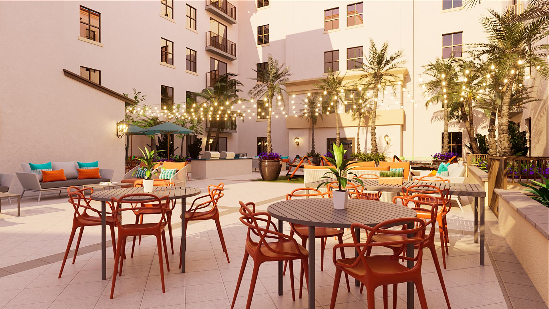 Courtyard seating area with tables during golden hour