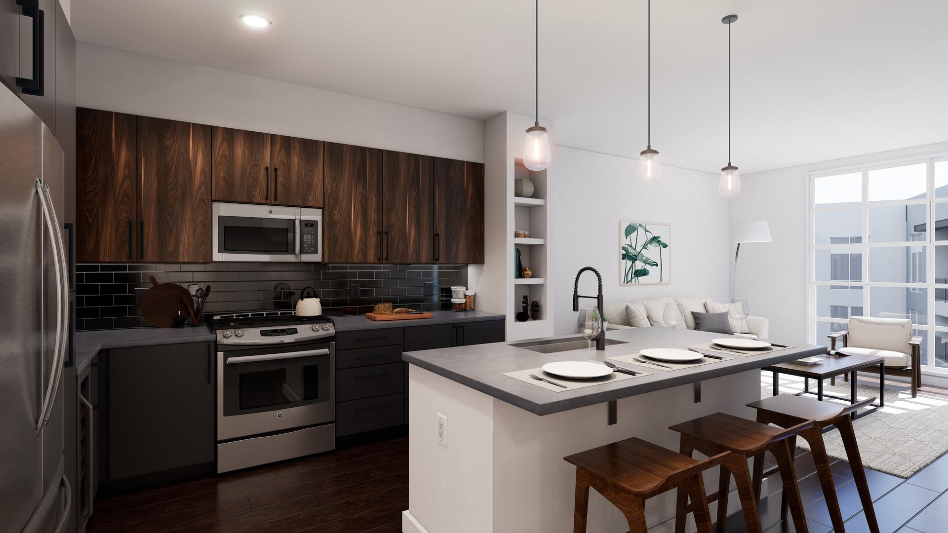 An apartment kitchen with finish option 3