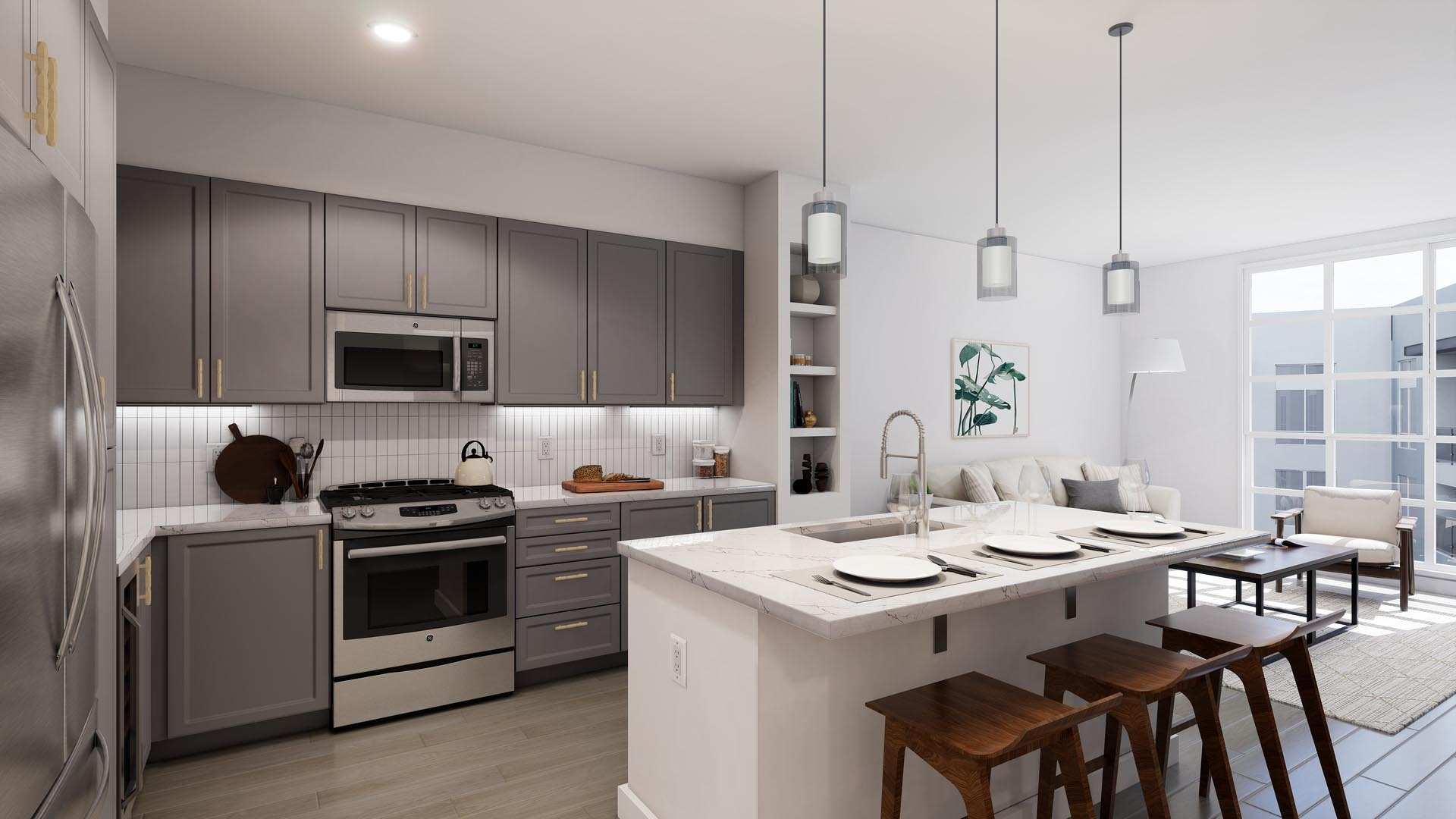 An apartment kitchen with finish option 2