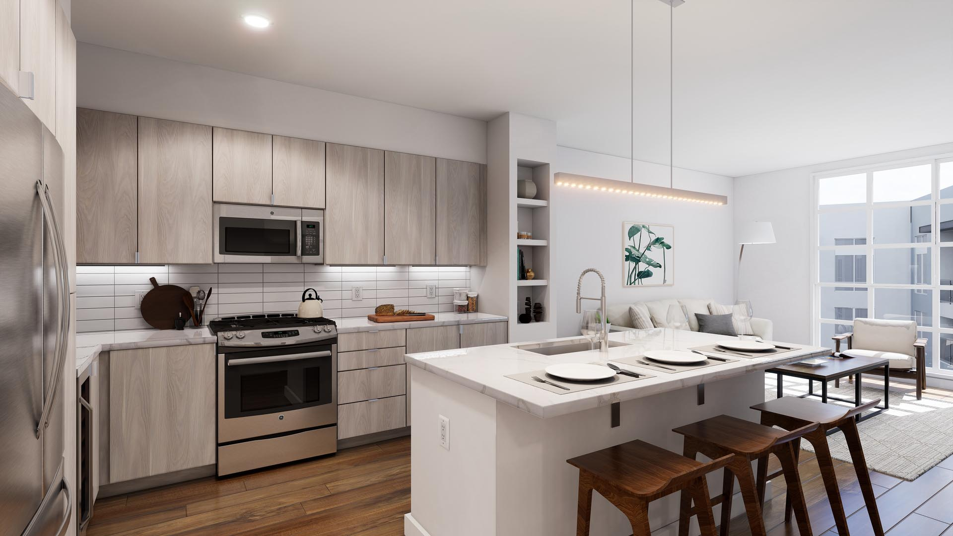An apartment kitchen with finish option 1