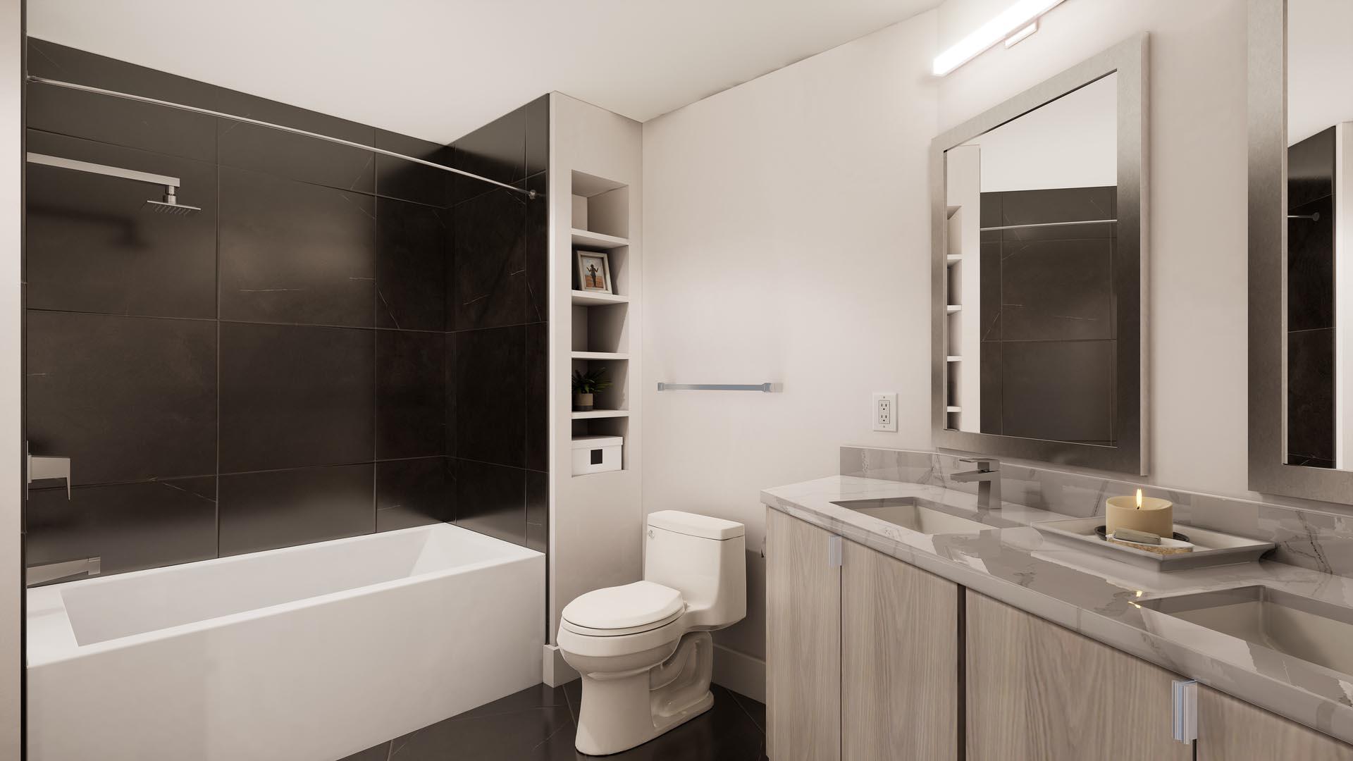 An apartment bathroom with finish option 2