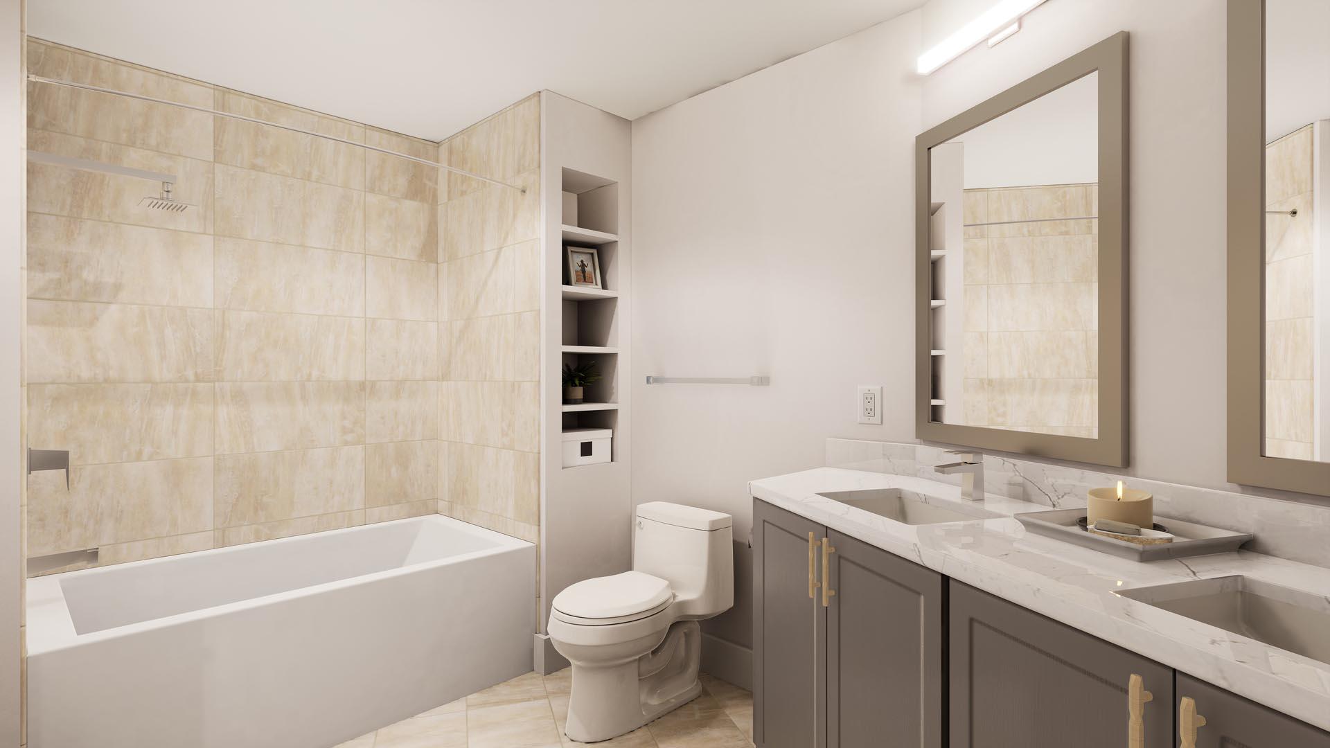 An apartment bathroom with finish option 3