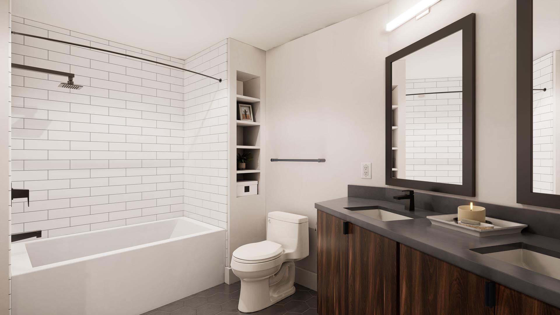 An apartment bathroom with finish option 1