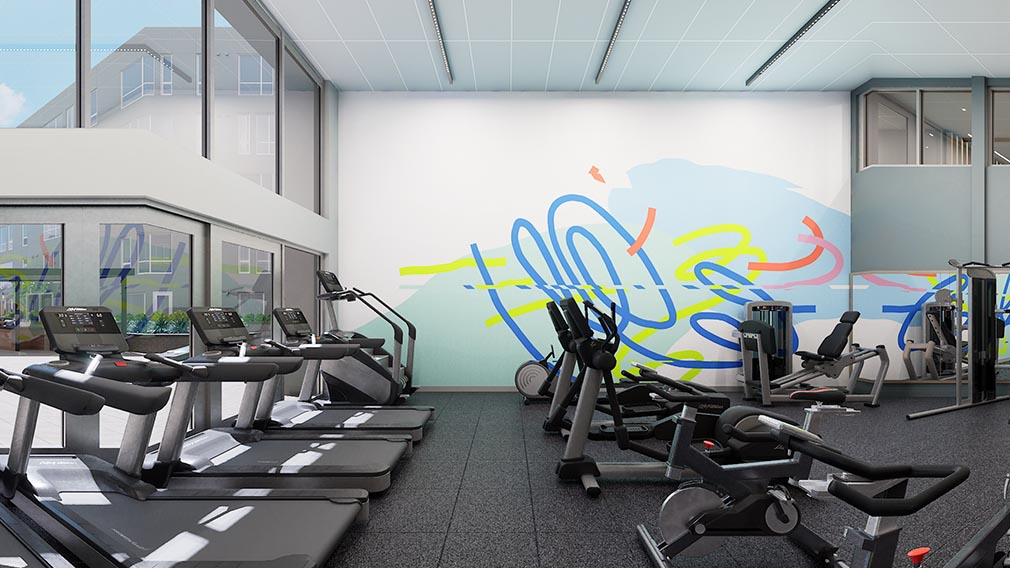 A fitness center wall covering option 1