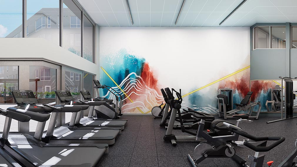 A fitness center wall covering option 6