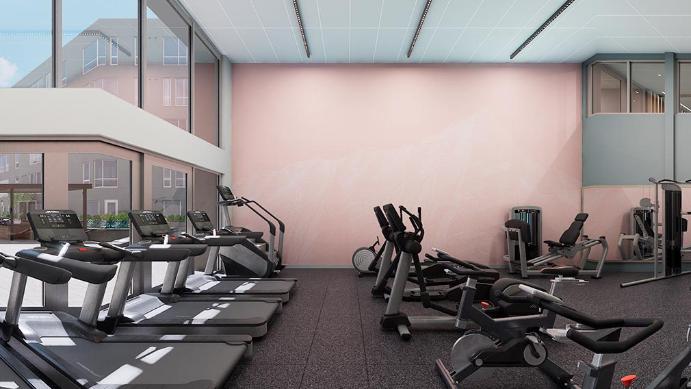 A fitness center wall covering option