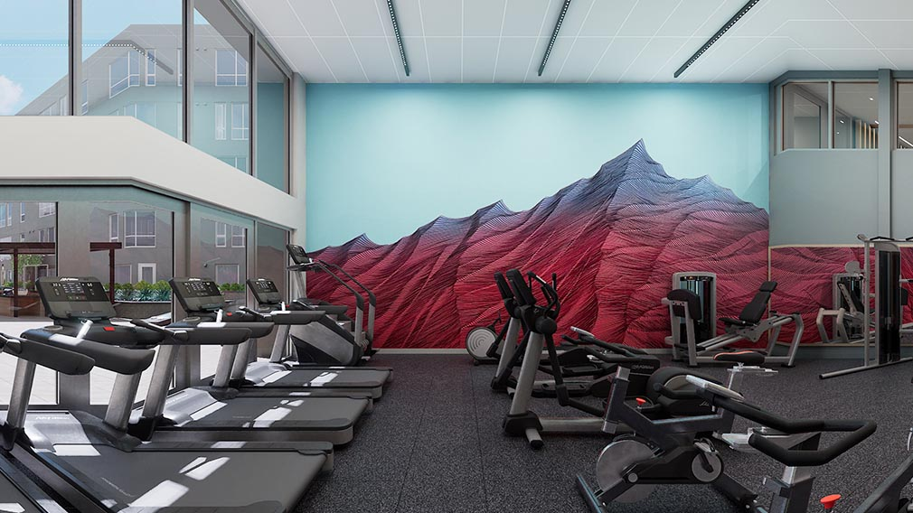 A fitness center wall covering option 4