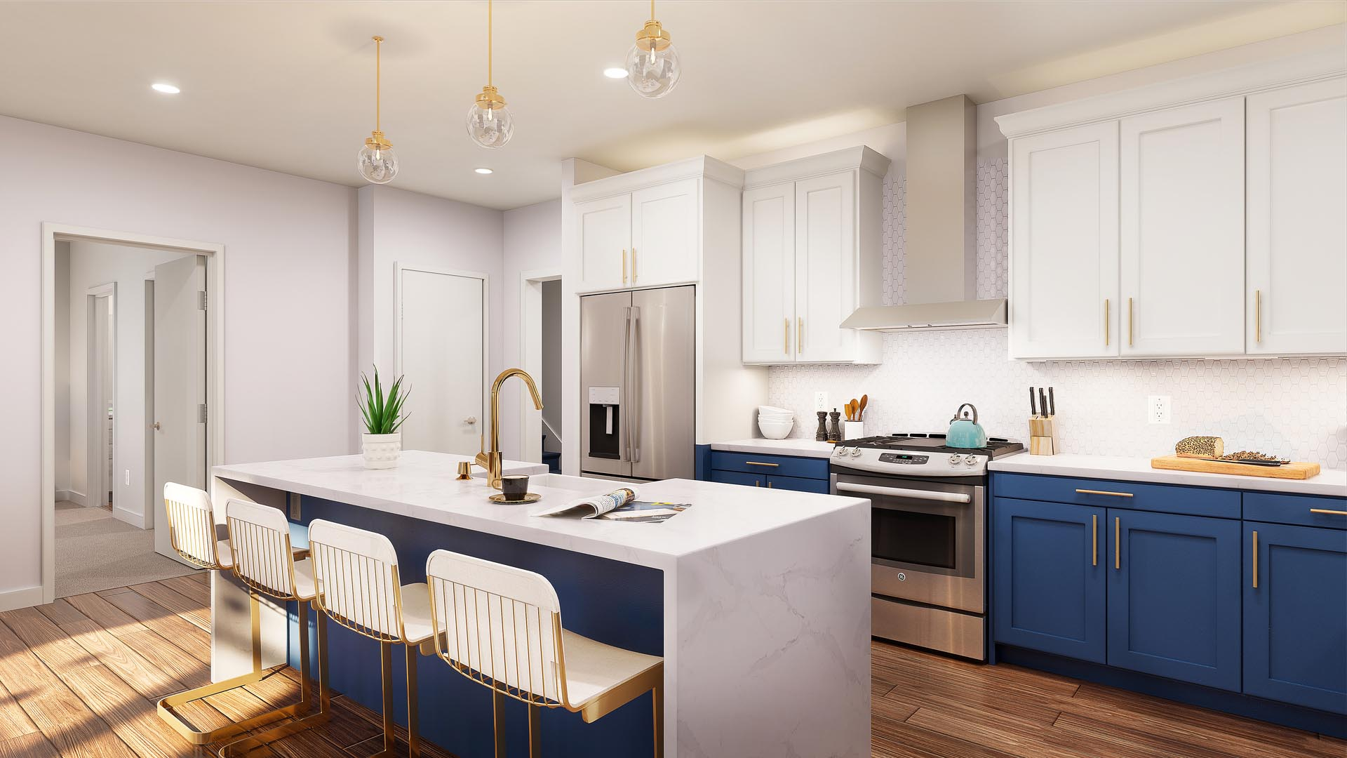 An apartment kitchen and island with beautiful finishes