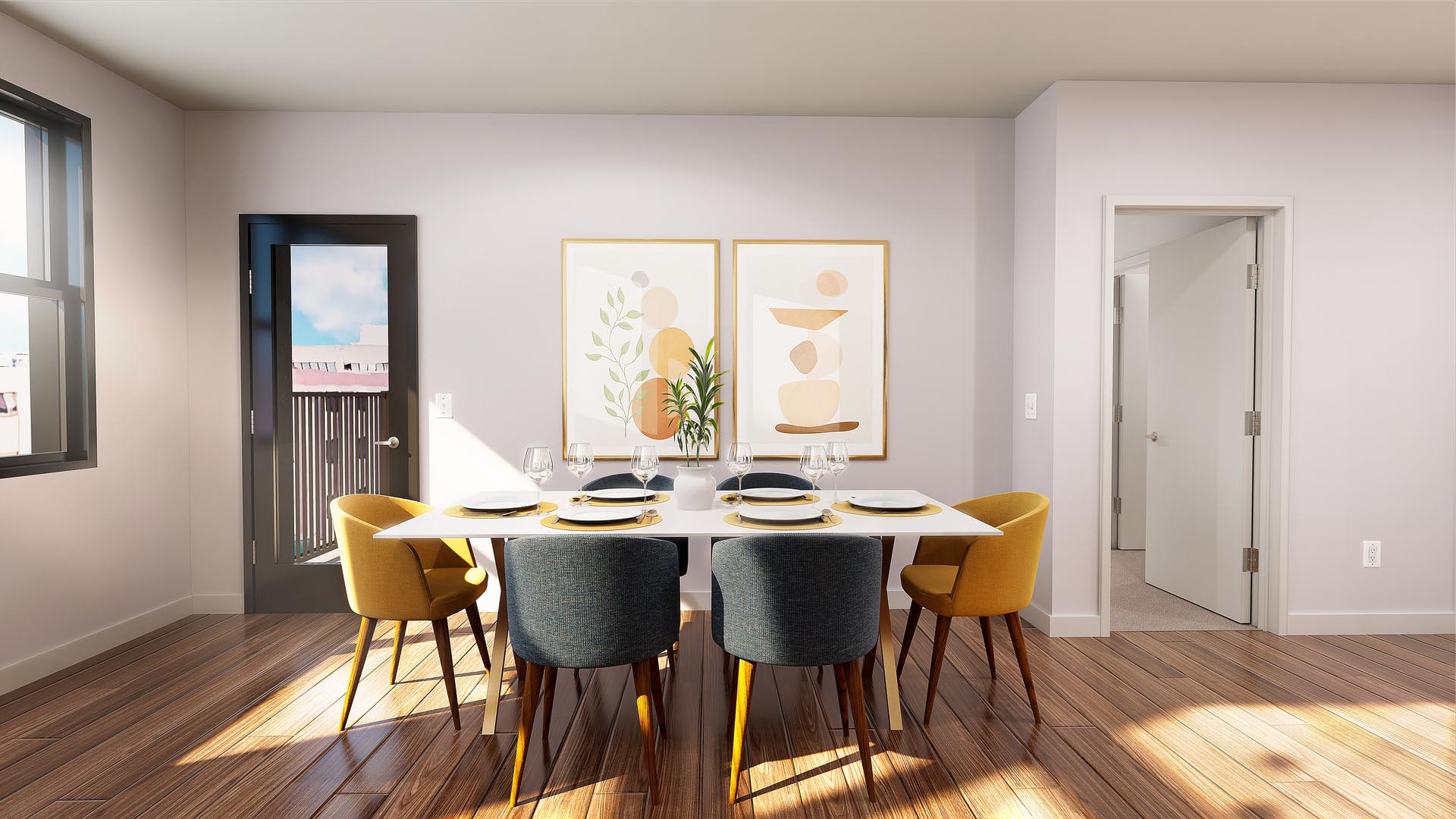 3D rendering of a dining room with table and chairs