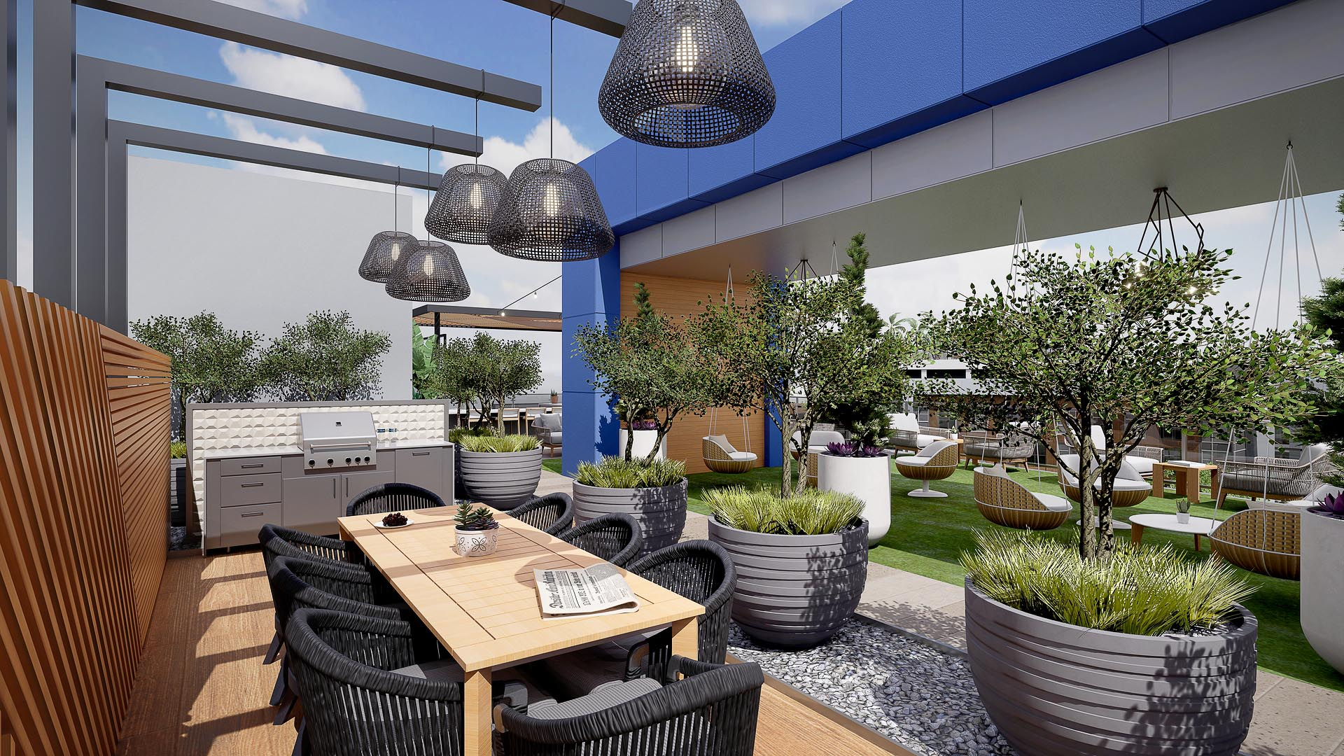A rooftop dining area with foliage