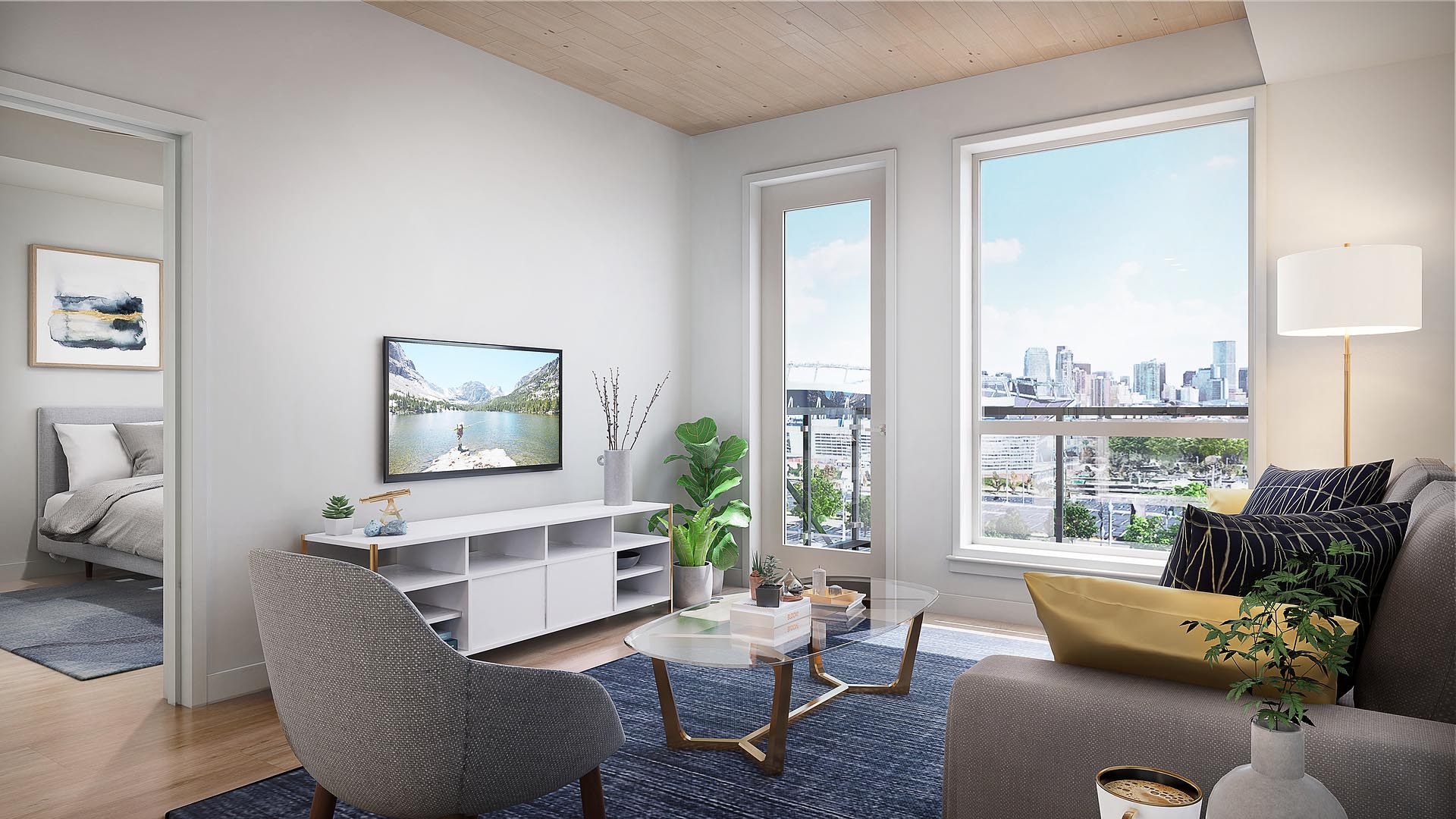 A model apartment living room with TV