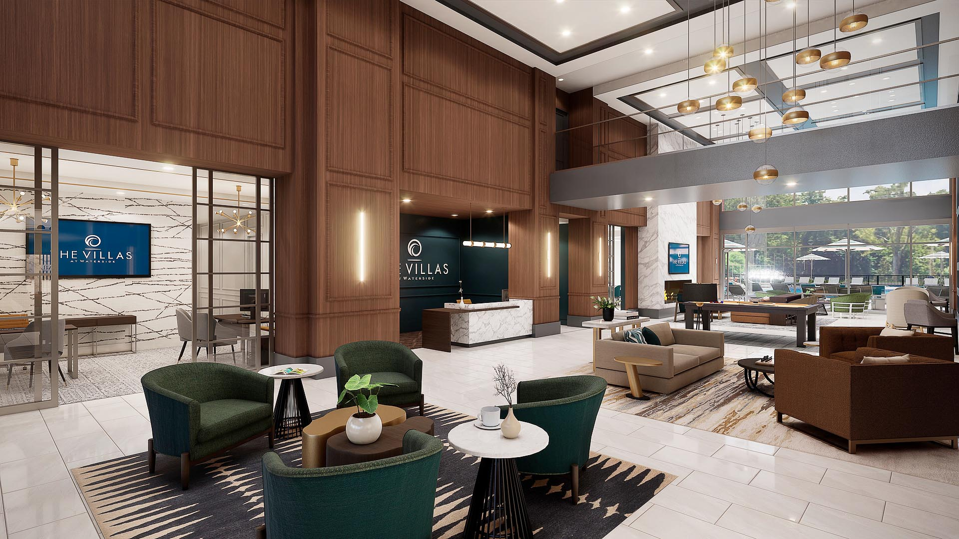 An apartment front lobby and entryway