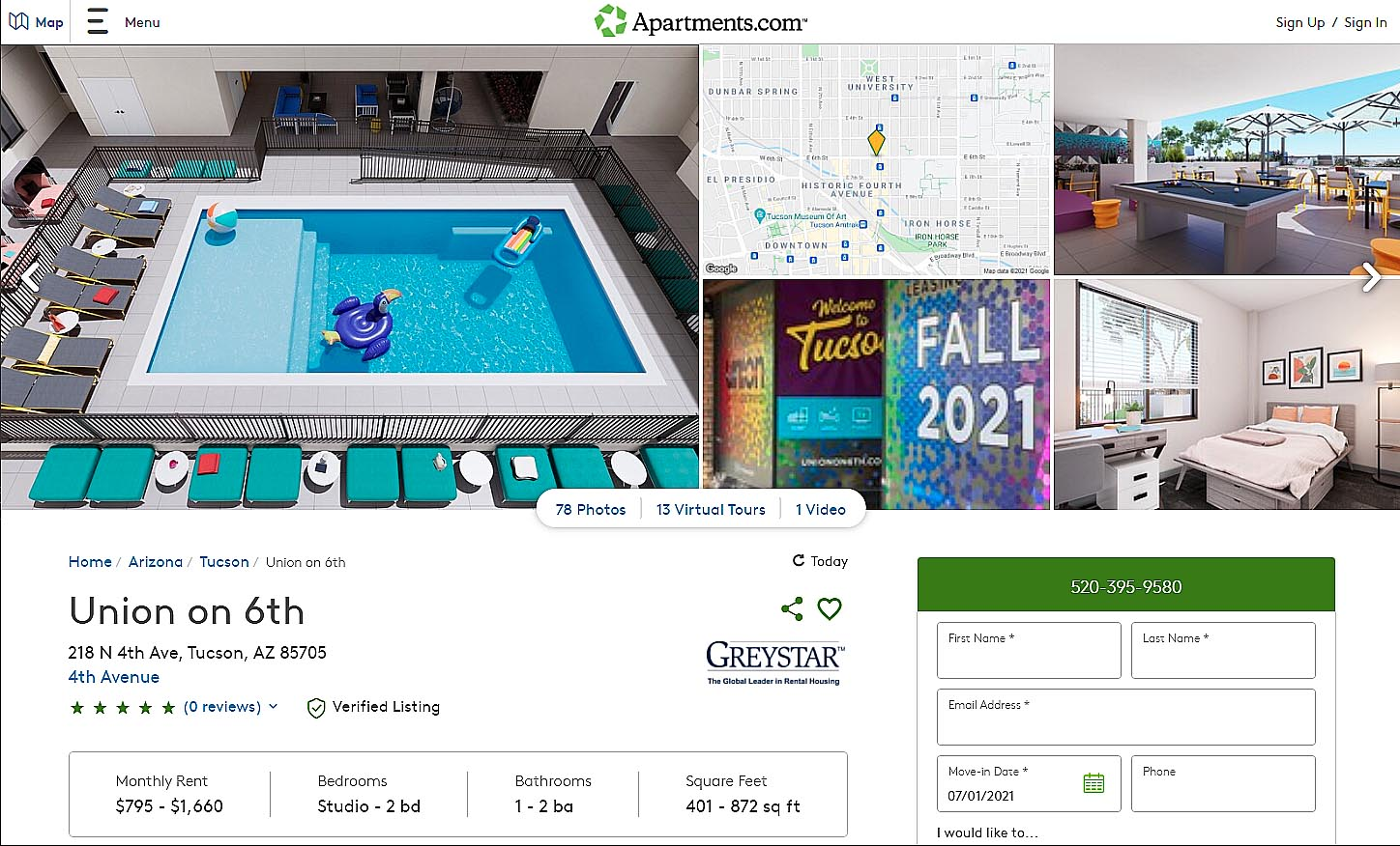 Shows our graphics and virtual tours up on Apartments.com
