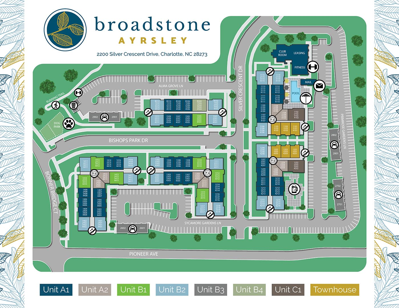 A site map for Broadstone Ayrsley