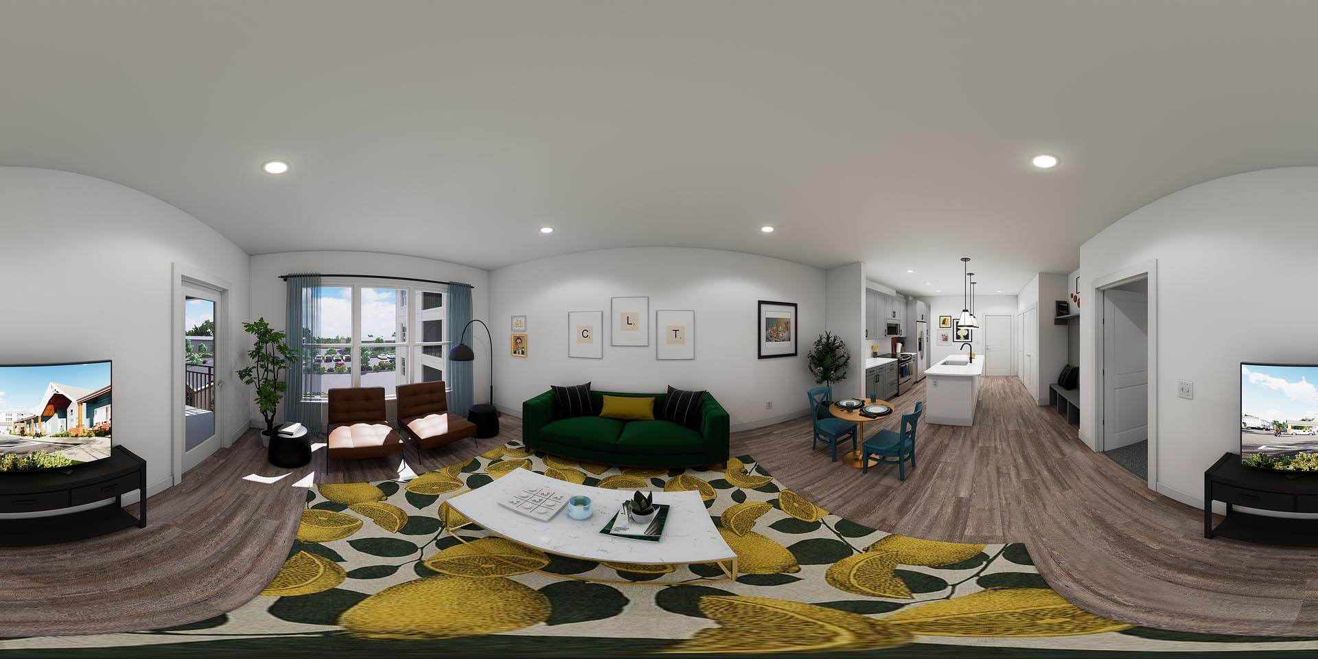 A 360 rendering of an apartment living room