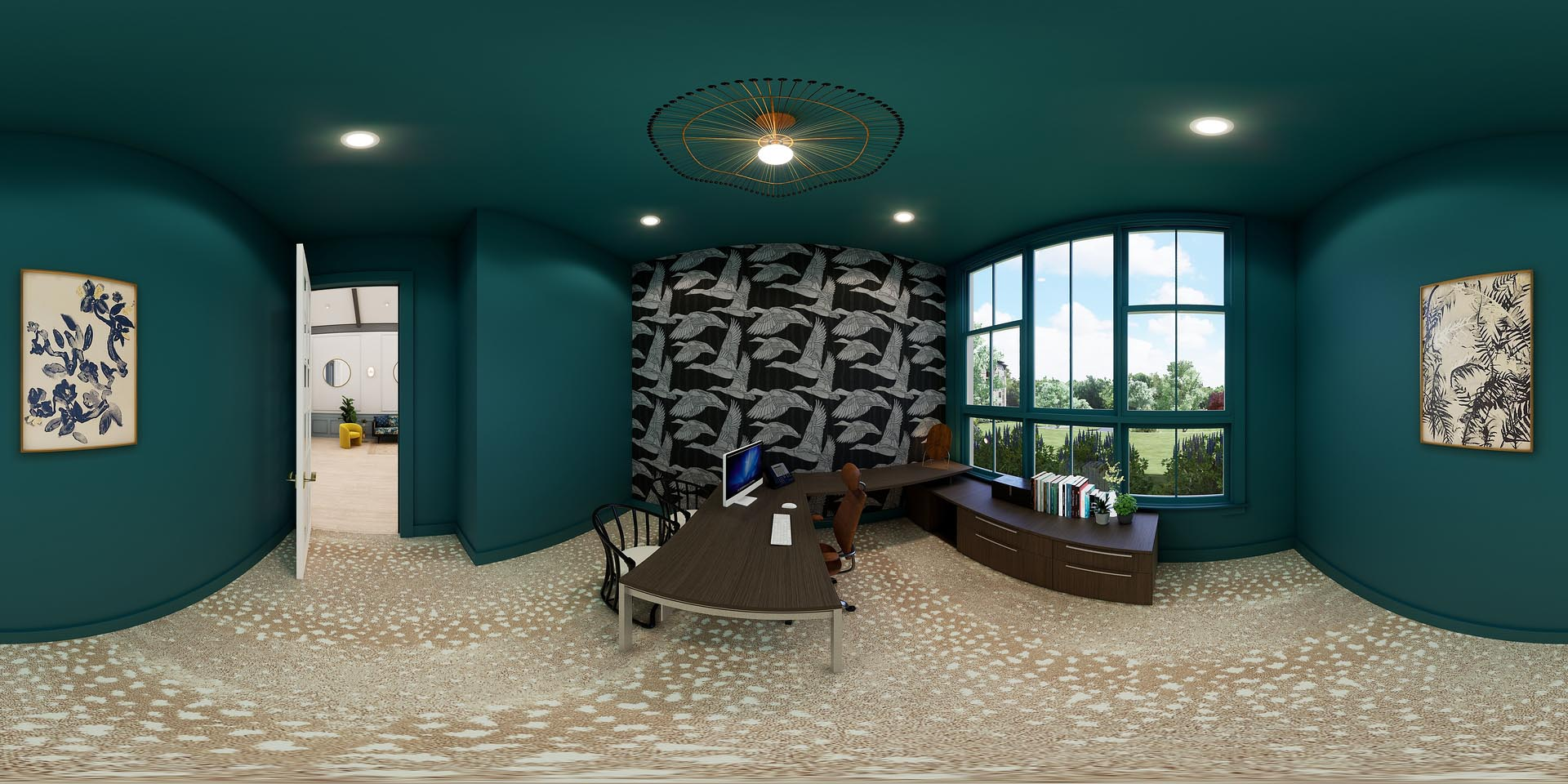 A 360 rendering of a leasing office