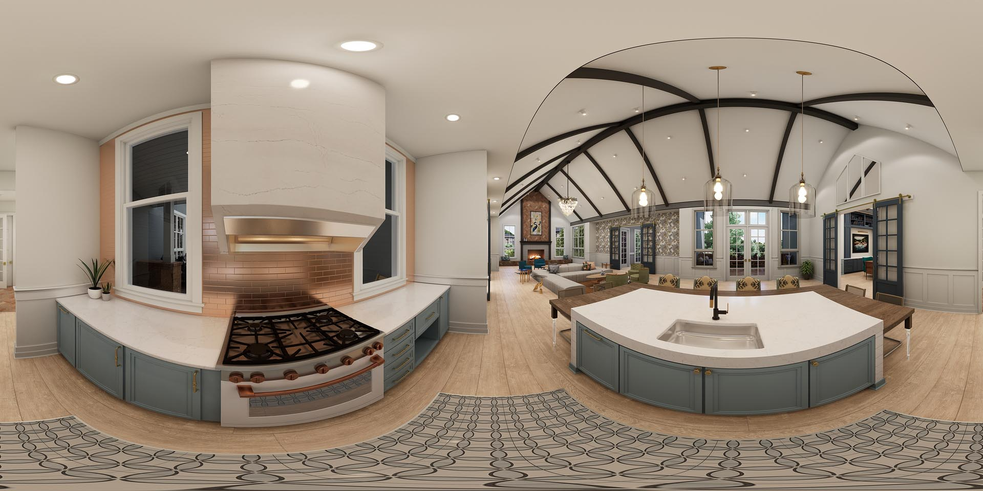 A 360 rendering of a chef's kitchen area in an amenity space